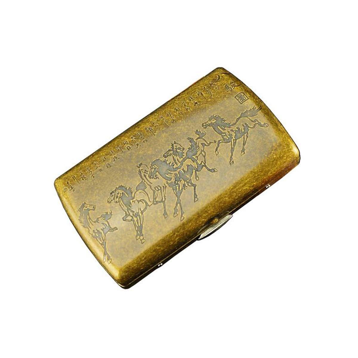 WENPINHUI Cigarette Case, Copper 12-Pack Cigarette Box, Metal Steel Clip Cigarette Box, Eight Horses (Color : Gold) by WENPINHUI