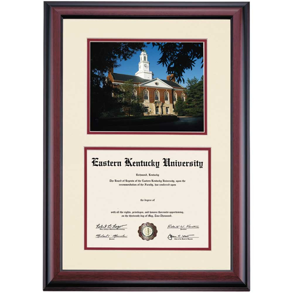 Campus Linens Eastern Kentucky EKU Colonels Diploma Frame Ivory Maroon Matting Photograph