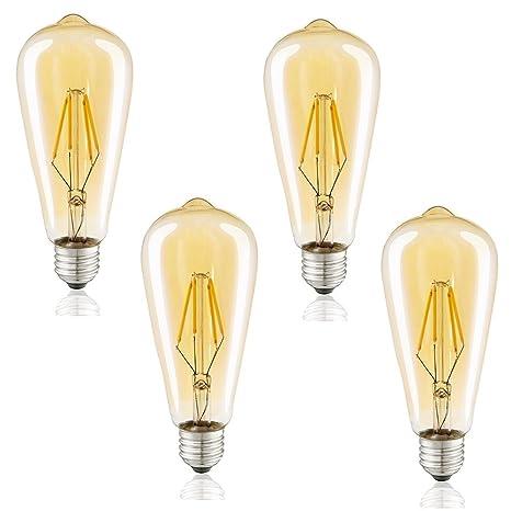 4 piezas Edison Vintage Bombilla, LED Caliente Bombilla Blanca, E27 Lámpara Cap Ideal para