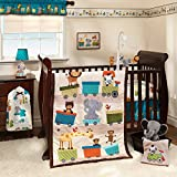 3 Piece Brown Blue Yellow Train Baby Crib Bedding Set, Newborn Animal Themed Nursery Bed Set Infant Child Safari Jungle Elephant Giraffe Monkey Zebra Lion Blanket Quilt Bold Border, Polyester Cotton