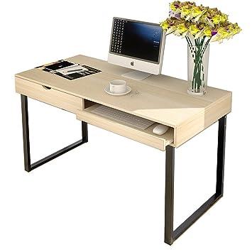 soges Madera Ordenador Escritorio Oficina en casa Estudio de Escritorio Escritorio con cajón y Teclado,
