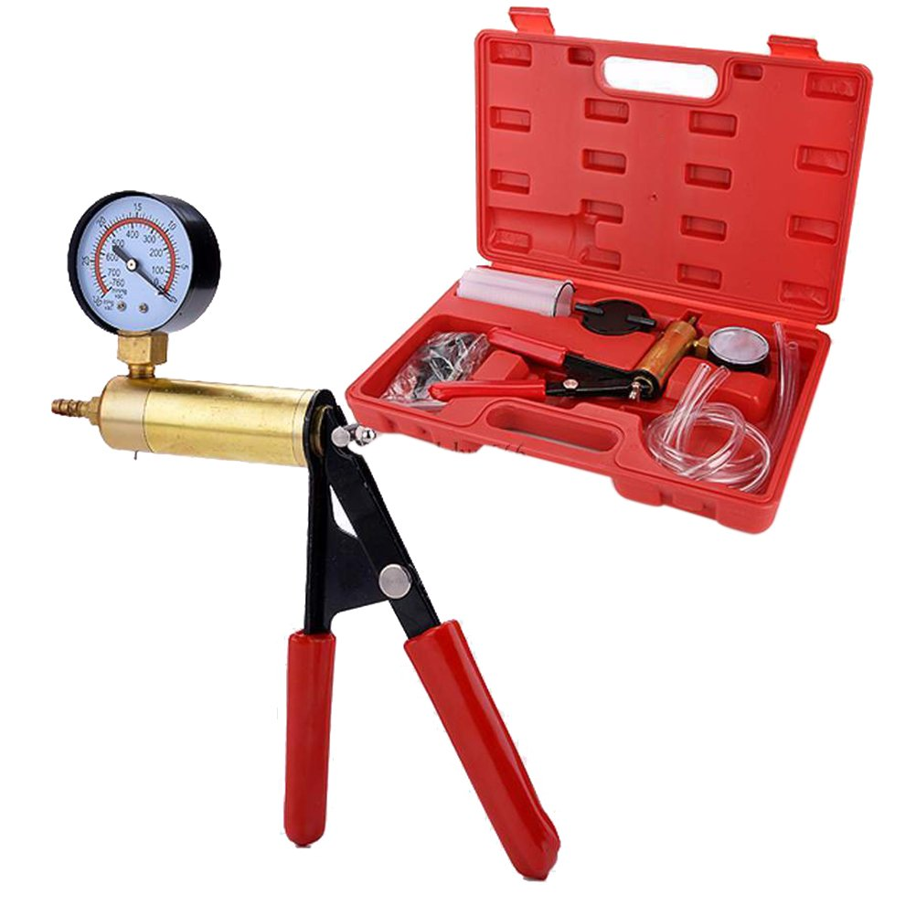 WINOMO Hand Held Vacuum Pump, Hand Held Vacuum Pump with Gauge, 2  in 1  Brake Bleeder Vacuum Pump Gauge Test Tuner Kit Tools DIY Hand Tools 2 in 1 Brake Bleeder Vacuum Pump Gauge Test Tuner Kit Tools DIY Hand Tools