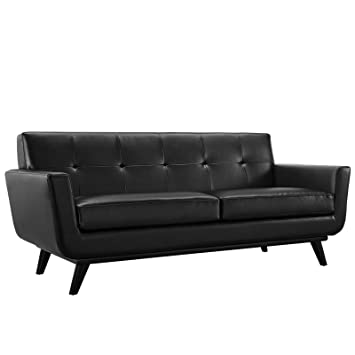 Modway Engage Mid Century Modern Upholstered Leather Loveseat In Black