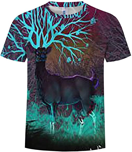 Chamnbilli 3D T-Shirt Short Sleeve T-Shirt Ghost Crewneck Graphic Casual Printed Tee Tops
