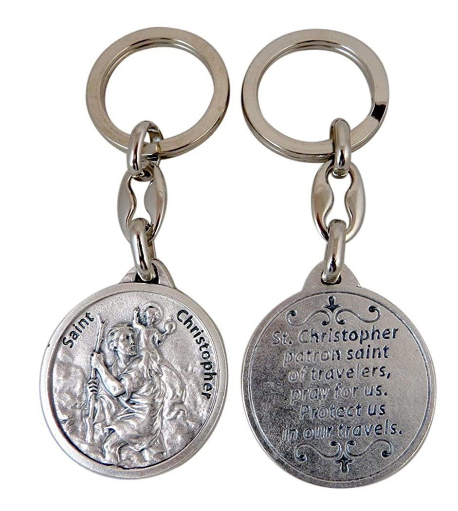 Silver Toned Base Saint Christopher Protect Our Travels Medal Keychain 1 1//2 Inch
