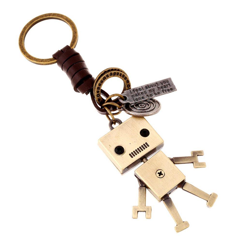 Spaufu Porte-Clés Keychain Style Vintage Robot Forme Pendentif Clé de Voiture Porte-Clés Sac à Dos Sac à Main Sacs à Suspendre Décorations Femmes Filles Cadeau Accessoire