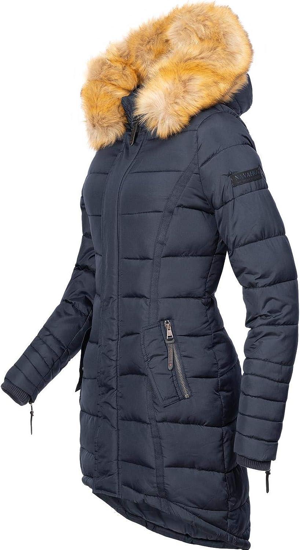 Navahoo Papaya Manteau D\'hiver Matelassé Pour Dame Avec Une Capuche Garnie De Fourrure Synthétique 12 Couleurs Xs-xxl Bleu