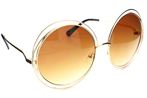 c752951003 Image Unavailable. Image not available for. Color  Big Round Oversized  Double Wire Rim Sunglasses ...