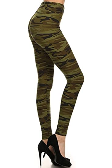 6d78676225cd00 The Clothing Shop Women's Camouflage Printed Full Leggings (Plus Size  Available) at Amazon Women's Clothing store: