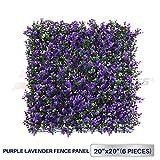 Windscreen4less 20' x 20' Artificial Purple Lavender Outward Fence Panel 6 Pcs