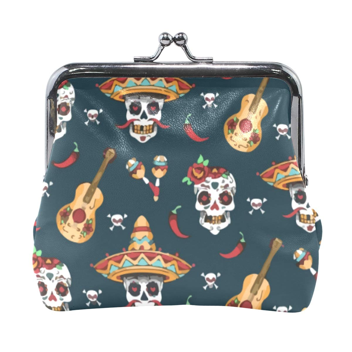 Mexican Sugar Skull Day Of Dead Coin Purse Buckle Vintage PU Pouch Kiss-lock Wallet for Women Girl