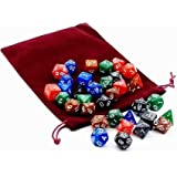 Kit 35 Dados RPG de Mesa D&D Opaco Perolado + 1 Bolsa Grande [D4 D6 D8 D10 D10% D12 D20]