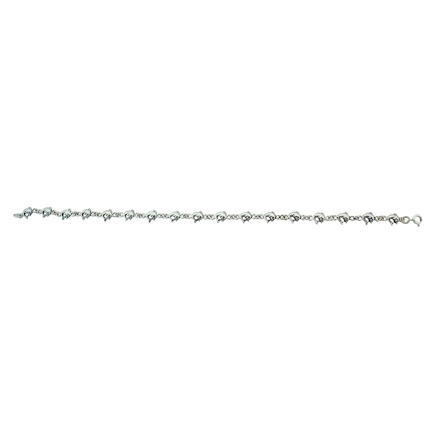 Sterling Silver Dolphin Charm Link Anklet 9 1//2 Inch
