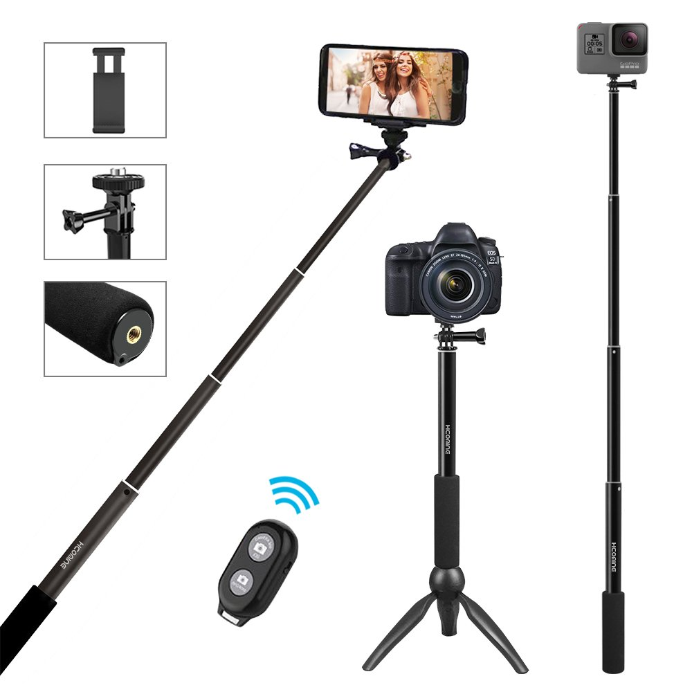 5-In-1 Selfie Stick 44 Inch, Hcomine Professional Extendable Tripod Stand For SmartPhone/GoPro   Cameras/DSLR Cameras With Removable Wireless Bluetooth Remote For Apple, Android (Black)