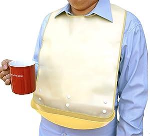 Waterproof Adult Senior Elderly Bib Apron Mealtime Clothing Protector with Detachable Crumb Catcher (Beige)