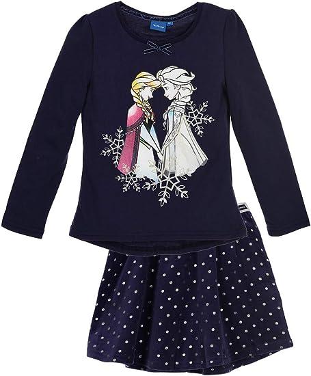 Camiseta de Manga Larga con Falda para niña de Frozen Azul 110 ...