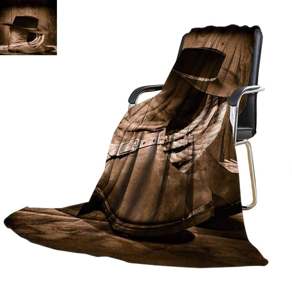 YOYI-home Warm Microfiber All Season Blanket Cow boy Black Felt hat ATOP Worn Western Boots and Spurs withold ranching Rope in an Antique Wood Oversized Travel Throw Cover Blanket 62''x60'' by YOYI-home (Image #1)