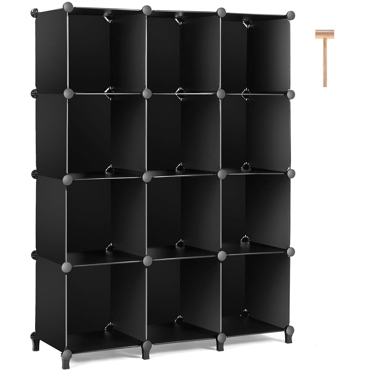 TomCare Cube Storage 12-Cube Bookshelf Closet Organizer Storage Shelves Shelf Cubes Organizer Plastic Book Shelf Bookcase DIY Square Closet Cabinet Shelves for Bedroom Office Living Room, Black
