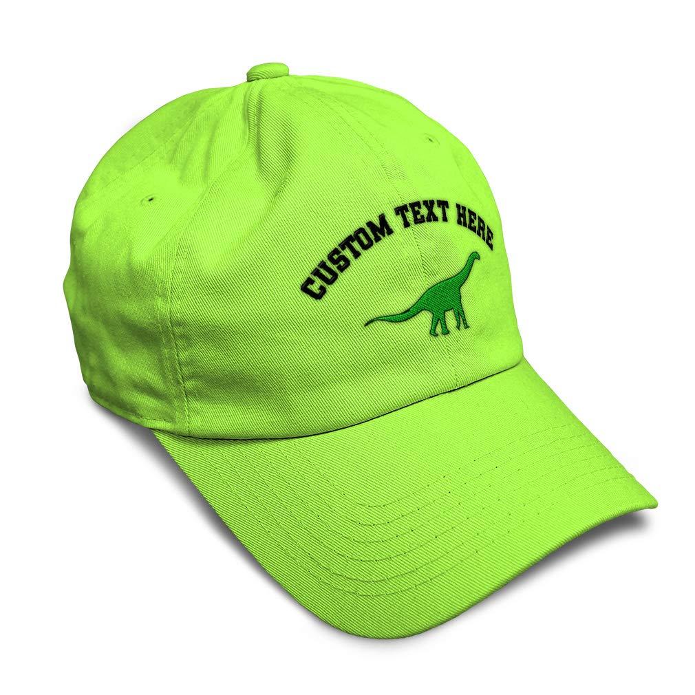 Custom Soft Baseball Cap Green Brachiosaurus Style B Embroidery Twill Cotton