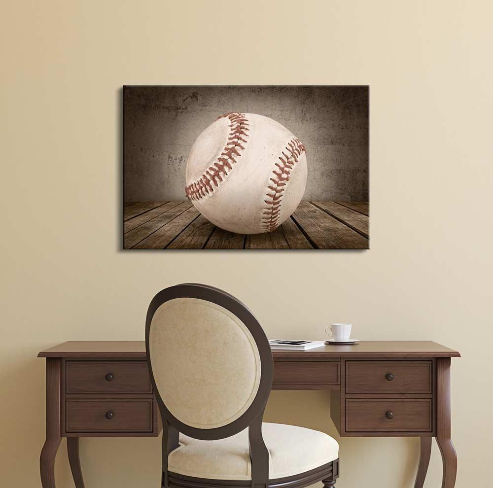 Baseball Rustic Sport Panel - Canvas Art Wall Art - 32
