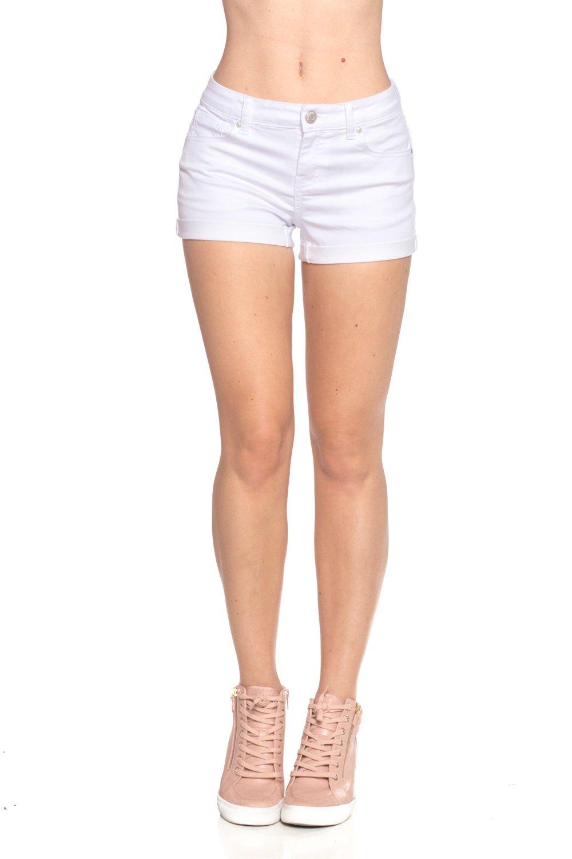 Calilogo Women's Fashion Denim Jean Stretchy Shorts (Large, White 1)