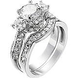 XAHH Women's 2 PCS Platinum Plated Ring Princess Cut 3 Cubic Zirconia Bridal Engagement Wedding Band Set