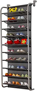 FKUO 10-Tier Over The Door Shoe Organizer Hanging Shoe Storage with 2 Customized Strong Metal Hooks for Closet Pantry Kitchen Accessory - Space Saving Solution (Gray, 10 Layer)