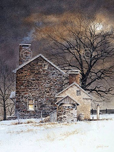 Blue Moon Ray Hendershot Country Farm Night Tree Winter Building Poster (Choose Size of Print)