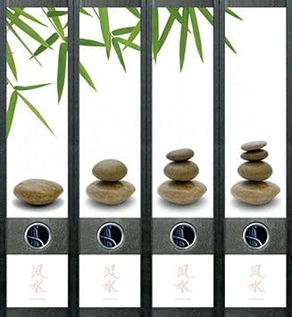 Lomo de archivadores Feng Shui piedras Agua carpeta carpeta vinilo decorativo adhesivo 445: Amazon.es: Oficina y papelería