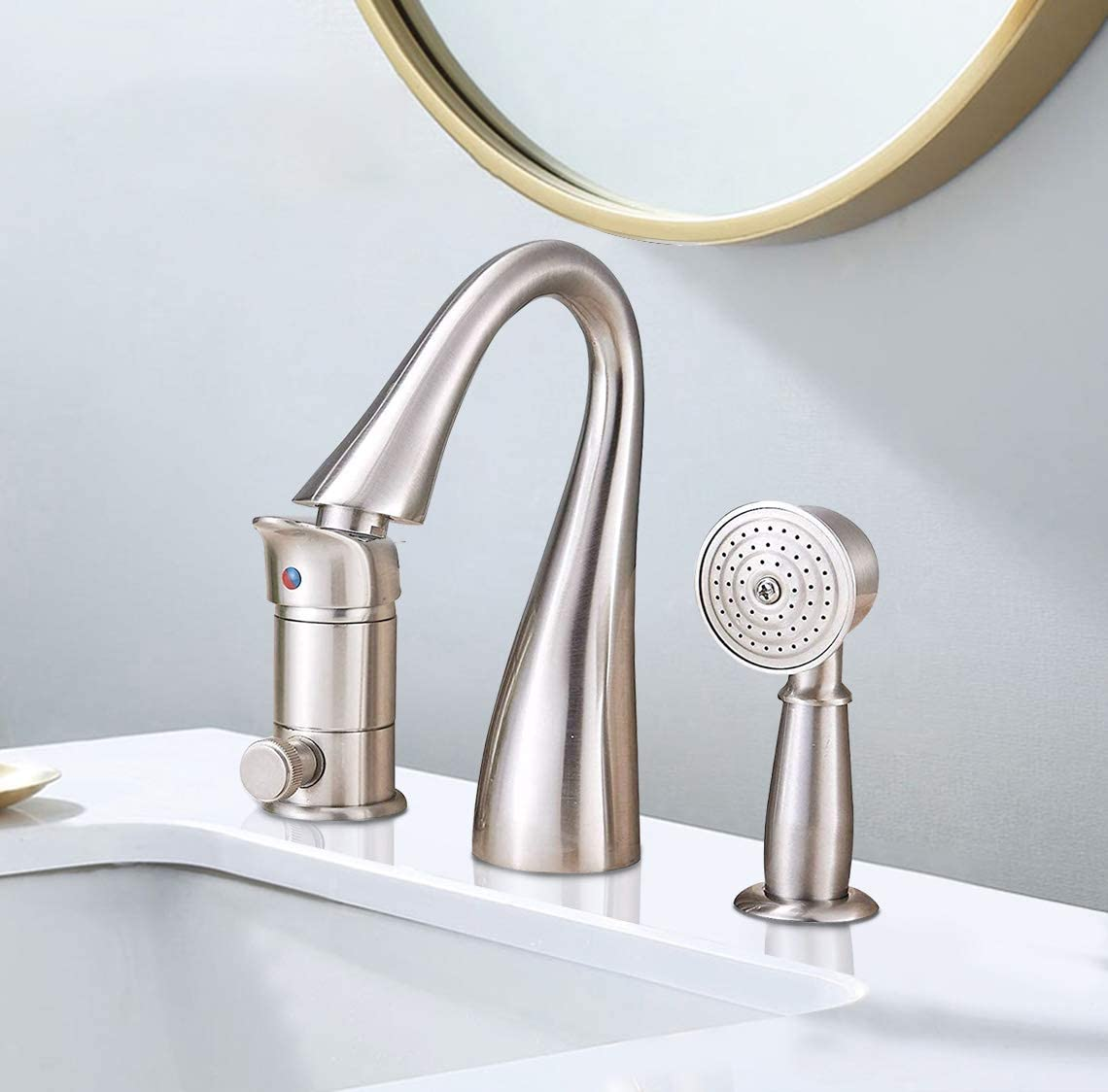 Saeuwtowy Brass Bathtub Faucet/Tap Waterfall 3 Holes Shower and Bathtub Faucet Brushed Nickel Bathtub Faucet Set Single Knobs with Handheld Shower Bathtub Faucet and Shower Set