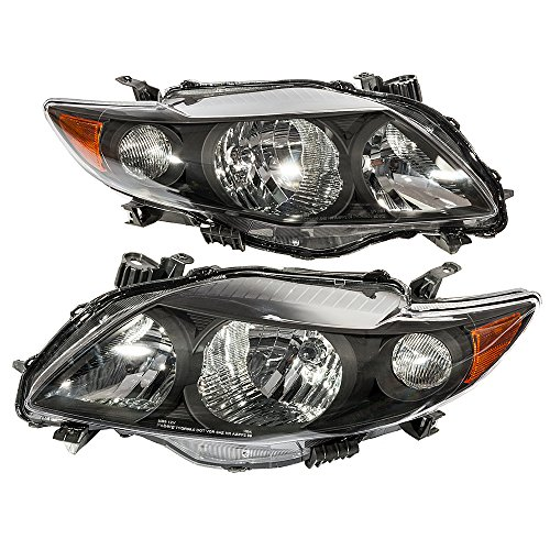 MILLION PARTS Pair Front Headlight Assembly fit for 2009 2010 Toyota Corolla Left Right Side Replacement Headlamps Driving Light Black Housing Clear Lens (2009 Toyota Corolla Headlamp)