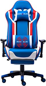 Nokaxus Gaming Chair Large Size High-Back Ergonomic Racing Seat with Massager Lumbar Support and Retractible Footrest PU Leather 90-180 Degree Adjustment of backrest Thickening sponges (YK-6007-BLUE)