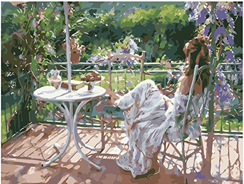 Diy Oil Painting Paint by Number Kit for Adults Beginner 16x20 inch - Beautiful Garden and Girl, Drawing with Brushes Christmas Decor Decorations Gifts (Without Frame) (Girls Beautiful Cover)