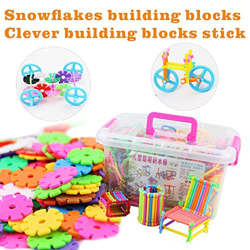NanHong roll outThe New With shaft Snowflake Plastic Building Blocks Toy, Two kinds different Educational Construction Engineering Building Blocks Set | Interlocking Building Connecting box (Interlocking Rings Stations)