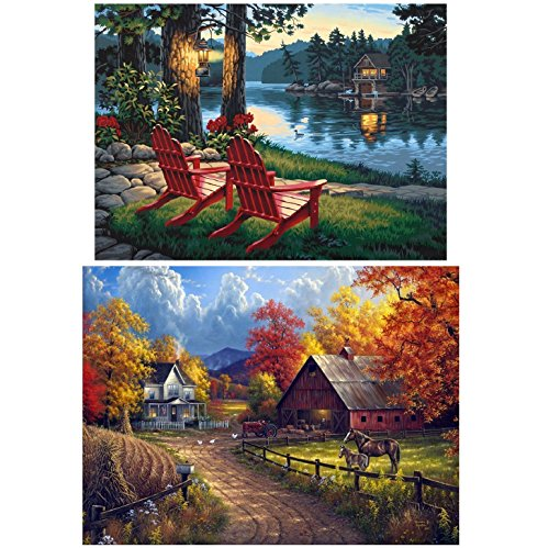 Topus 2 Pack 5D DIY Diamond Painting Full Drill Paint with Diamonds Living Room Village Farm & Village River for Home Wall Decor by Number Kits (12X16inch)