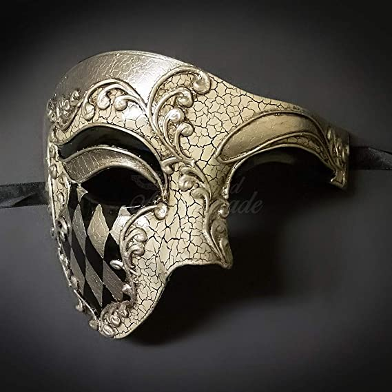 Wedding BB007BLBK Black Venetian Masquerade Mask with Blue Rhinestone Phantom of the Opera Inspired Unisex Mardi Gras