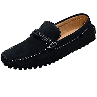 EnllerviiD Mens Flat Heel Slip On Driving Car Loafers Shoes,Black Suede Leather,8