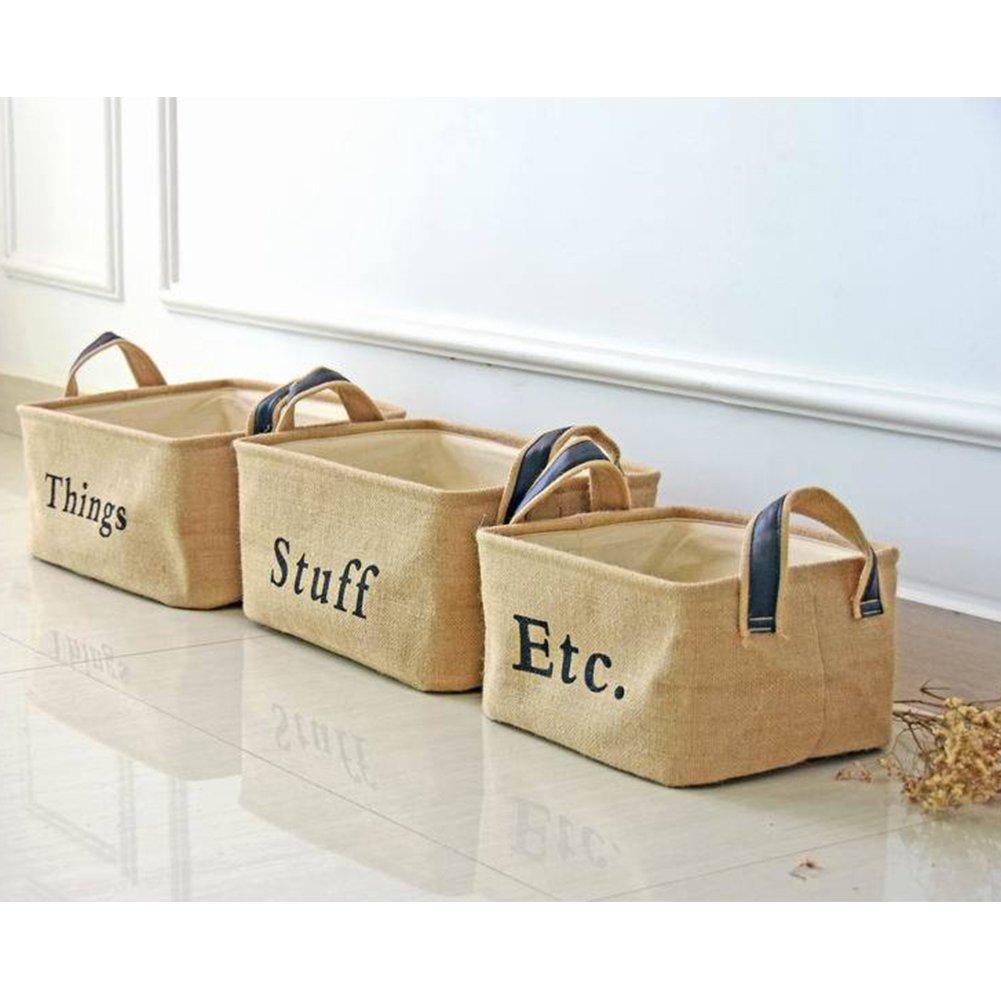 tafci así Holding forma cestas de yute - Baúl para juguetes cajas de almacenamiento organizador - perfecto para organizar para juguetes, juguetes, ...