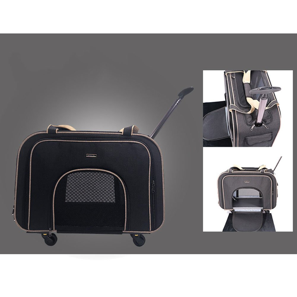 Black Luxury Pet Trolley Case Silent Wheel Portable Out of The Trunk Cat and Dog Universal Removable Trolley Bag,Black