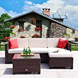 Cloud Mountain 5 PC Patio PE Rattan Wicker Furniture Set Outdoor Backyard Sectional Conversation Furniture Set Outdoor Patio Garden Sofa Set, Brown Rattan with Creamy White Cushions