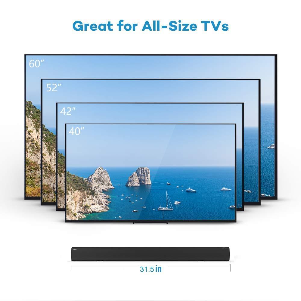 LONPOO 609B 20W*2 Slim TV altavoz soundbar Sistema de altavoces con mando a distancia Bluetooth Barra de sonido cine en casa Negro