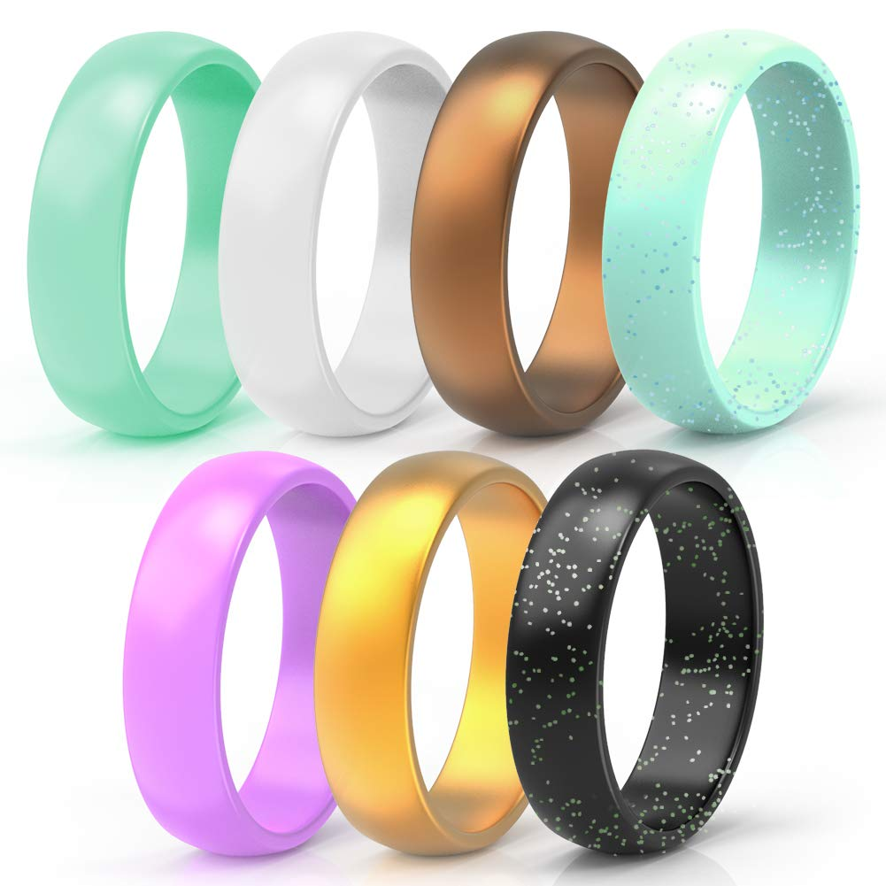 5/&7 Packs Thin and Stackable Silicone Ring Confortable and Skin Safe Rubber Wedding Bands for Women/&Kids Designed for U.S Wooany Silicone Wedding Ring for Women