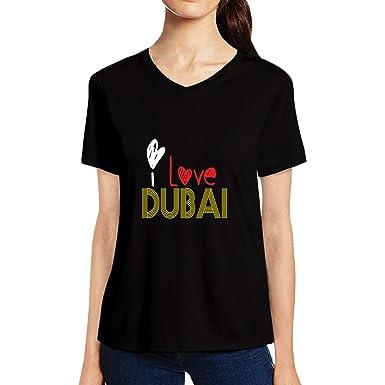 fa79099d Pooplu Womens I Love Dubai Cotton Printed V Neck Half Sleeves & White  Tshirt City Country Tshirts: Amazon.in: Clothing & Accessories