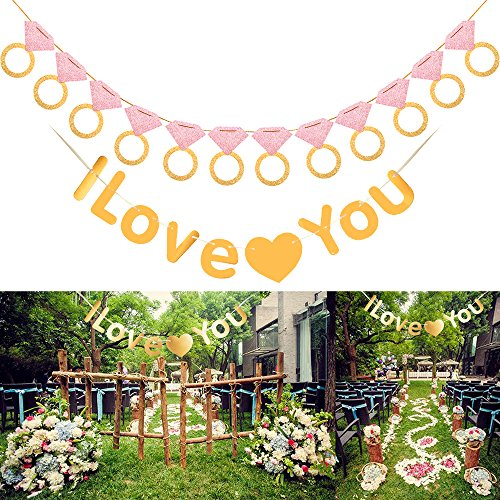 - I Love You Garland Banner Gold Heart Bunting Hanging Wedding Decoration With Big Diamond Shape Decor Flag For Romantic Marriage Proposal Engagement Anniversary Valentine's Day by LONGBLE … (Gold)