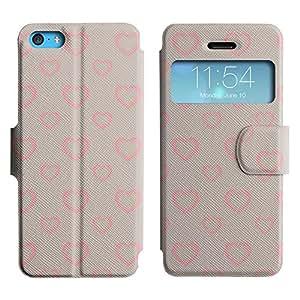 Be-Star Diseño Impreso Colorido Slim Casa Carcasa Funda Case PU Cuero - Stand Function para Apple iPhone 5c ( Simple Hearts )