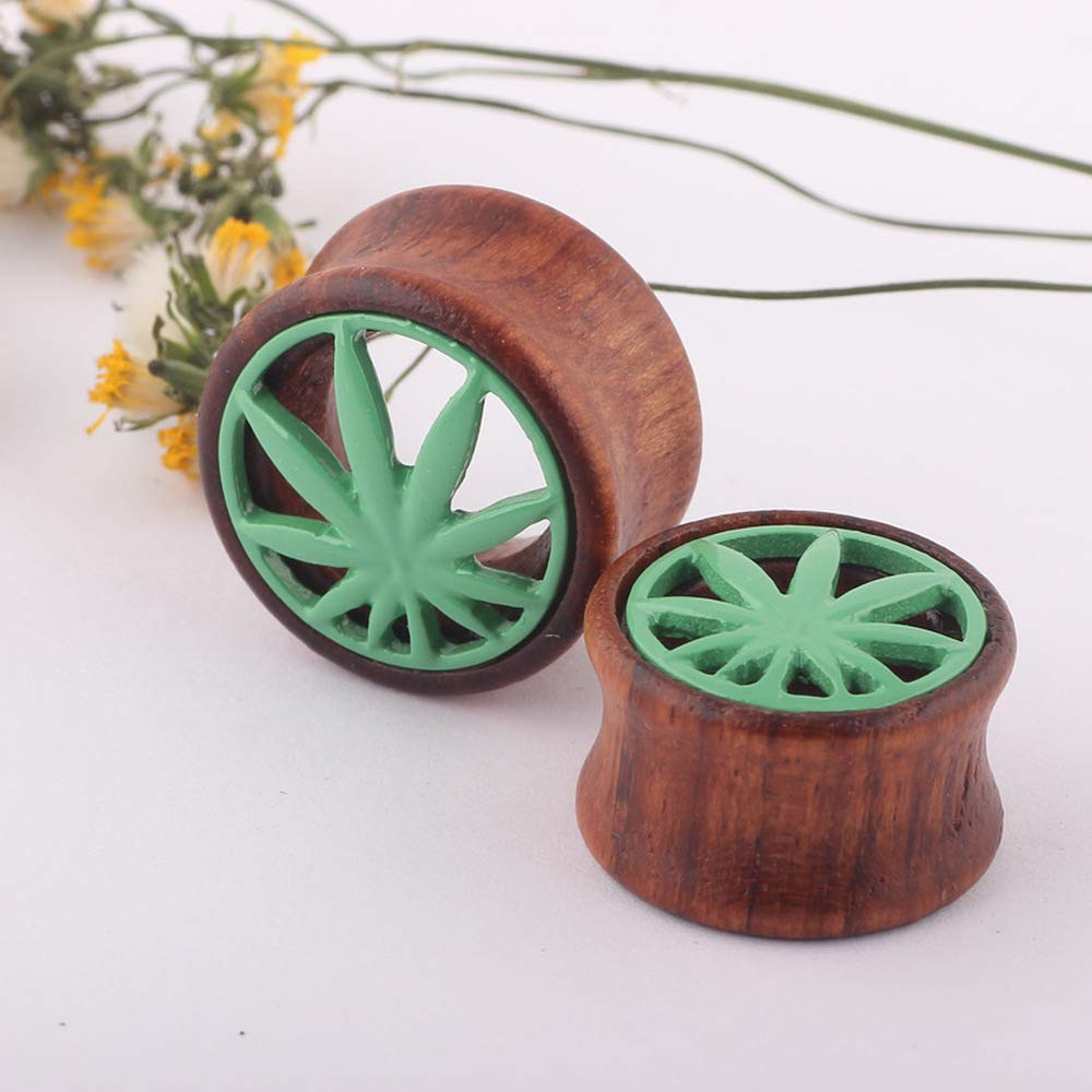 Ear Plugs Wood Hollow Maple Leaf Ear Gauges Body Piercing Jewelry 1 Pair (Brown Green, 8 mm) by Acccity (Image #2)