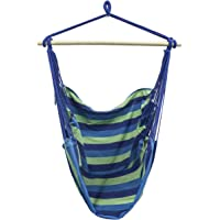 Sorbus HMK-PRTB-B Large Brazilian Hammock Chair-Cotton Weave-Extra Long Bed-(Blue and Green Stripes)