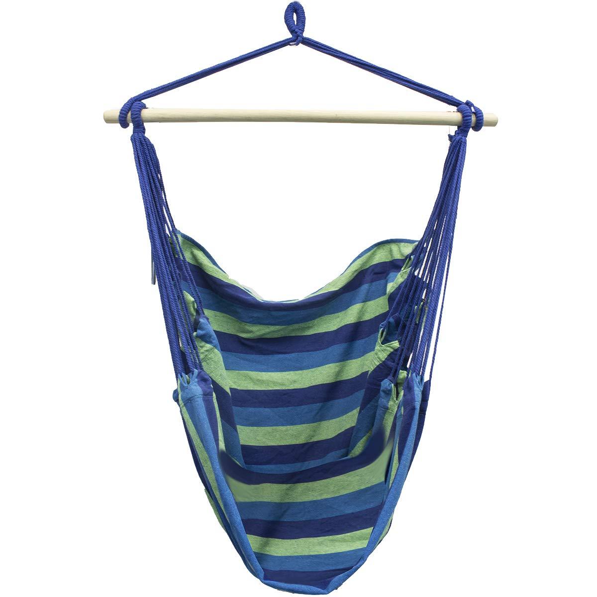 Sorbus HMK-PRTB-B Large Brazilian Hammock Chair-Cotton Weave-Extra Long Bed-(Blue and Green Stripes) ggi interntational