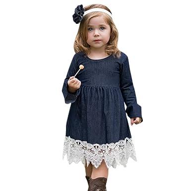 76885c5b2e12 Mädchen Kleider Kinder Kleider Longra Mädchen Jeanskleider Langarmkleid mit  Spitzen Kleider Festliche Kleider Prinzessin Kleider Kindermode