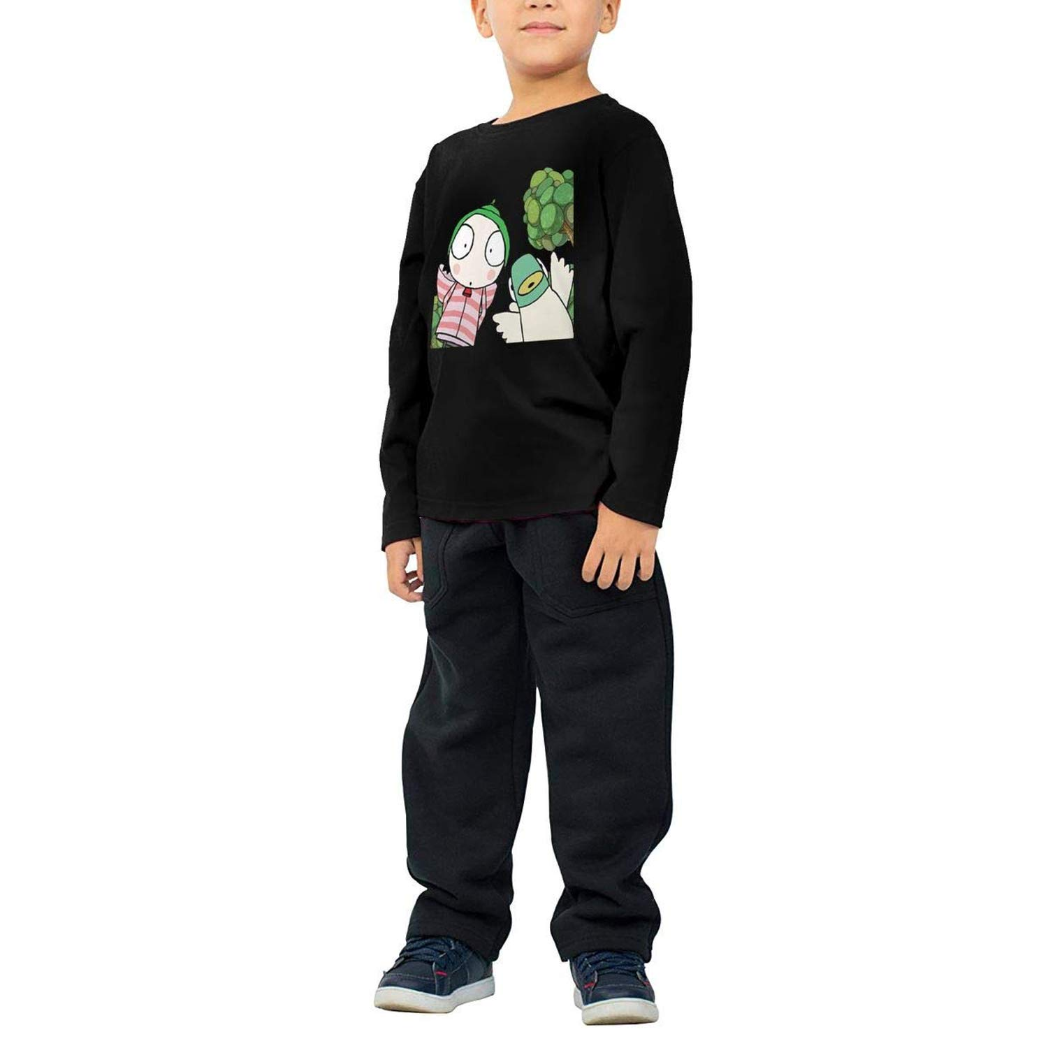 To-night Childrens Long Sleeve T-Shirt Personality Street Trend Creation Sarah /& Duck Logo Black